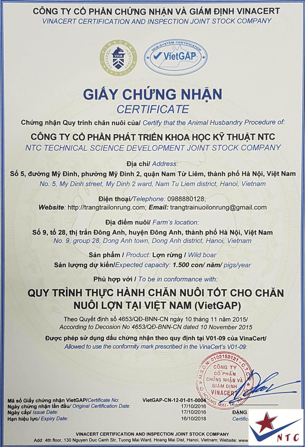chứng nhận VietGAP